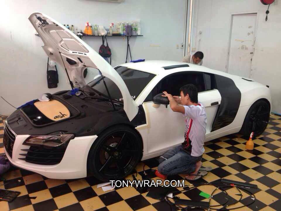 592e9c58d2d3 Satin Matt White Audi R8 Wrap Car Tony Wrap Supercar Society