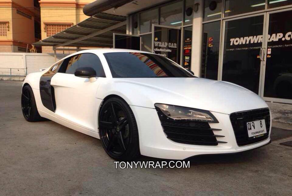 the best attitude 563e1 b9404 Satin Matt White Audi R8 Wrap Car Tony Wrap Supercar Society