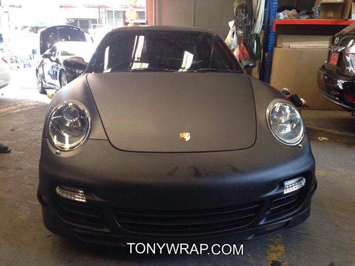 best service 7e7d4 099e8 Matt Black Porsche 997 Wrap Car Tony Wrap